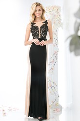 Muti-Color Sheath Scoop-Neck Sleeveless Jersey Illusion Dress With Appliques