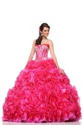Organza Cascading Ruffles Sweetheart Ball Gown With Crystal Bodice And Removable Cap