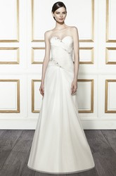 Trumpet Sweetheart Beaded Long Tulle&Satin Wedding Dress With Criss Cross And Corset Back