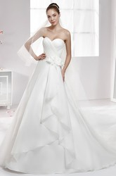 Sweetheart Side-Draping A-Line Chiffon Wedding Dress With Side Floral Waist And Pleated Bodice