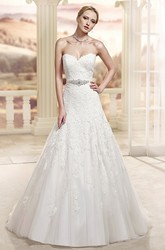 Ball Gown Jeweled Sweetheart Tulle&Lace Wedding Dress