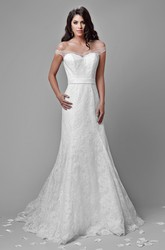 Off-The-Shoulder A-Line Lace Gown With Illusion Back And Sequins