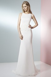 Long Scoop Appliqued Chiffon Wedding Dress With Sweep Train