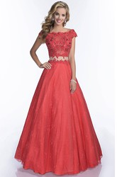 Lace A-Line Scalloped-Edge Cap Sleeve Prom Dress With Keyhole Back
