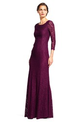 Sheath 3-4-Sleeve Maxi Scoop-Neck Lace Bridesmaid Dress With V Back