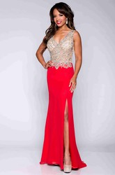 Sheath V-Neck Sleeveless Chiffon Prom Dress With Beaded Bodice