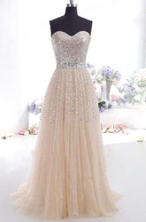 Sleeveless Floor-length A-Line Sweetheart Tulle Sequins Dress