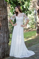 Jewel Short Bell Sleeve Lace Wedding Dress With Illusion Back And Sash