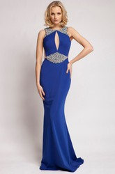 Sleeveless Scoop Neck Beaded Jersey Prom Dress With Brush Train