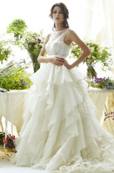 A-Line Sleeveless Scoop Floor-Length Cascading-Ruffle Organza Wedding Dress With Illusion Back And Beading