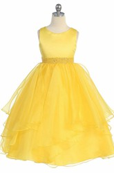 Tea-Length Beaded Tiered Sequins&Organza Flower Girl Dress With Sash
