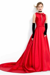 A-Line Sleeveless High-Neck Floor-Length Satin Prom Dress