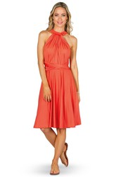 Knee-Length Halter Sleeveless Chiffon Convertible Bridesmaid Dress With Ruching And Straps