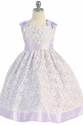 Tea-Length Bowed Floral Lace Flower Girl Dress With Sash