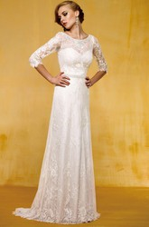 Half-Sleeved Long Wedding Dress With Appliques And Sweep Train