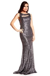 Sheath Maxi Sleeveless Scoop-Neck Sequins Prom Dress