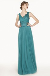Empire V Neck A-Line Tulle Long Prom Dress With Half-Tulle-Half-Lace Bodice
