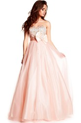 A-Line Beaded Sleeveless Strapless Maxi Tulle&Satin Prom Dress With Bow