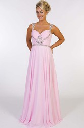 A-Line Ruched Strapped Sleeveless Floor-Length Chiffon Prom Dress With Beading