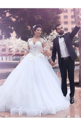 Ball Gown Queen Anne Lace Tulle Zipper Wedding Dress