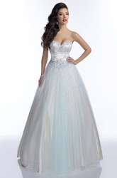 Sleeveless A-Line Sweetheart Tulle Prom Dress With Open Back And Shining Sequins