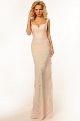 Pencil Long Appliqued Sleeveless Lace Prom Dress With Backless Style And Brush Train