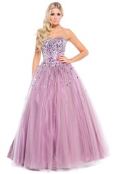 Ball Gown Strapless Sequined Tulle Prom Dress With Beading And Bow