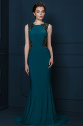 Sheath Long Beaded Scoop-Neck Sleeveless Jersey Evening Dress