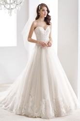 Sweetheart Embroidered A-Line Bridal Gown With Lace Bodice And Open Back