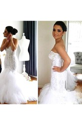 Mermaid Trumpet Sweetheart Lace Tulle Zipper Wedding Gown