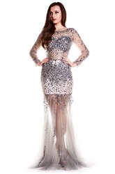 Trumpet Scoop-Neck Floor-Length Long-Sleeve Beaded Tulle Prom Dress
