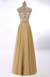 A-Line Princess Sleeveless Scoop Crystal Chiffon Floor-Length Dresses