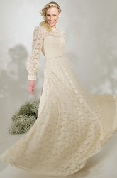 High Neck Long Puff-Sleeve Lace Wedding Dress With Sweep Train And V Back
