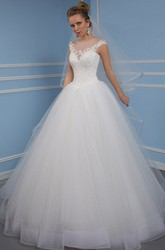 Scoop Floor-Length Appliqued Tulle Wedding Dress With Chapel Train And Keyhole