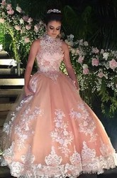 Sleeveless Ball Gown High Neck Floor-length Lace Tulle Prom Dress with Appliques Beading Lace