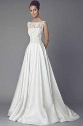 Long Bateau Appliqued Satin Wedding Dress With Sweep Train And Illusion
