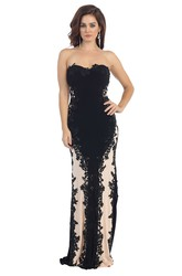 Pencil Floor-Length Strapless Sleeveless Lace Jersey Dress With Appliques