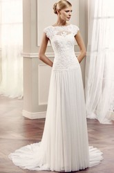 Sheath Jewel-Neck Sleeveless Pleated Chiffon&Lace Wedding Dress With Illusion