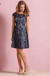 Cap-Sleeved Bateau-Neck A-Line Lace Bridesmaid Dress With Keyholes