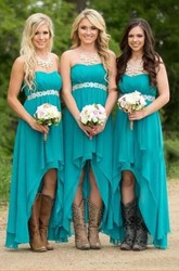 Sleeveless A-line Sweetheart High-low Chiffon Bridesmaid Dress with Ruching Sash and Tiers