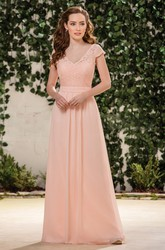Cap-Sleeved V-Neck A-Line Bridesmaid Dress With V-Back And Lace Bodice
