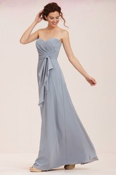Sweetheart Long Bridesmaid Dress With Pleats And Knot Detail