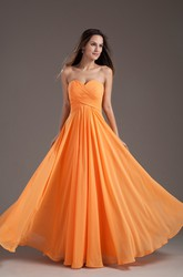 Sweetheart Sleeveless Criss-Cross Chiffon Maxi Bridesmaid Gown with Pleats