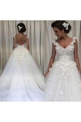 Ball Gown V-neck Lace Tulle Open Back Low-V Back Wedding Gown