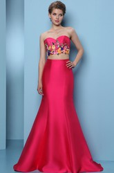 Mermaid Floor-Length Embroidered Sleeveless Sweetheart Satin Prom Dress With Sequins