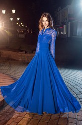 A-Line High Neck Long Sleeve Tulle Lace Illusion Dress With Pleats