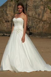 A-Line Sweetheart Sleeveless Floral Tulle Wedding Dress