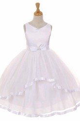 Tea-Length Peplum Tiered Bowed Tulle&Satin Flower Girl Dress With Ribbon