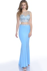 Crop Top Trumpet Sleeveless Jersey Gown With Sequins And Beaded Bodice