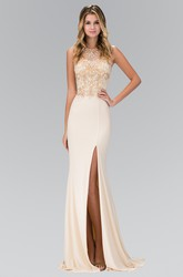 Sheath Long Bateau Sleeveless Jersey Illusion Dress With Split Front And Beading